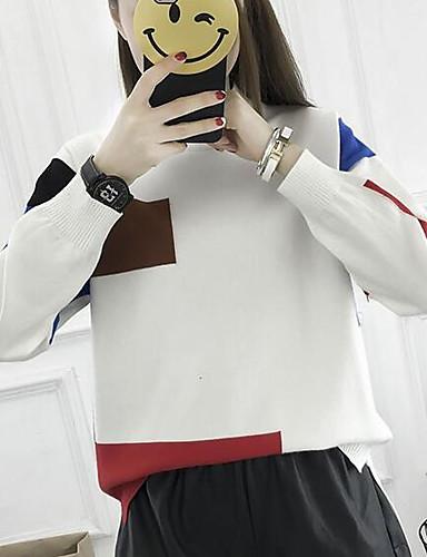 preiswerte Ausverkauf-Damen Alltag Einfarbig Langarm Standard Pullover Pullover Jumper, Rundhalsausschnitt Winter Schwarz / Weiß Einheitsgröße