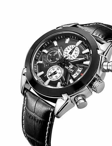 preiswerte MEGIR®-MEGIR Herrn Uhr Armbanduhr Quartz Leder Schwarz Kalender Cool Analog Klassisch Freizeit Modisch Weiß Schwarz / Edelstahl