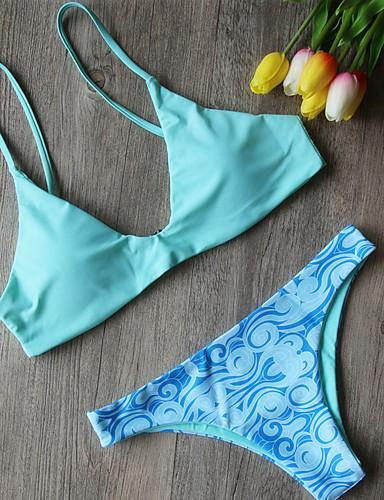 billige Dametopper-Dame Chic & Moderne Lysegrønn Underbukser Bikini Badetøy - Flerfarget Sexy Trykt mønster S M L Lysegrønn