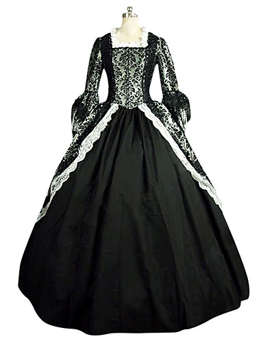 ffc1ffe837ac5 Rococo Victorian 18th Century Costume Women's Dress Party Costume Masquerade  Black Vintage Cosplay Lace Satin Party Prom Long Sleeve Long Length Ball  Gown ...