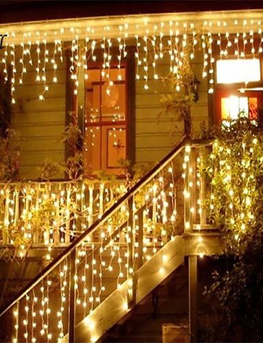 preiswerte Beste Weihnachtsdekoration-Weihnachtsgirlande führte Vorhang-Eiszapfen-Schnurlicht 220v 1.5m 48leds Innentropfen führte dekoratives Licht des Parteigarten-Stadiums im Freien