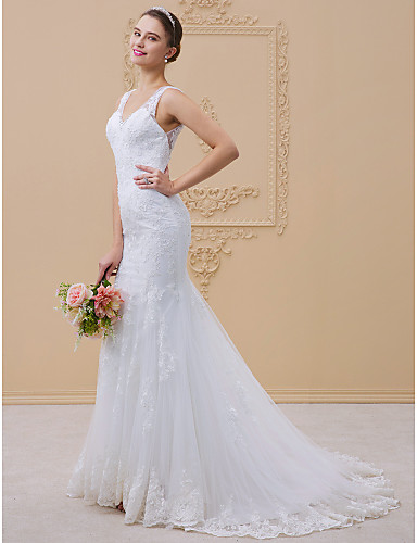 cheap Wedding Dresses-Mermaid / Trumpet V Neck Chapel Train Tulle / All Over Lace / Lace Over Tulle Regular Straps Sexy Illusion Detail / Backless Wedding Dresses with Beading / Appliques 2020