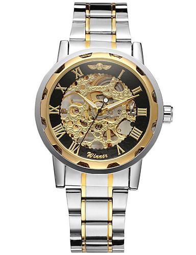 WINNER Ανδρικά Διάφανο Ρολόι Ρολόι Καρπού μηχανικό ρολόι Αυτόματο κούρδισμα Ανοξείδωτο Ατσάλι Ασημί 30 m Εσωτερικού Μηχανισμού Απίθανο Αναλογικό Πολυτέλεια Κλασσικό Βίντατζ Καθημερινό - Χρυσό Μαύρο