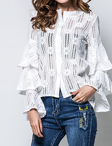 billige Dametopper-Draperte ermer T-skjorte Dame - Ensfarget, Blonde Gatemote Grønn / Vår / Høst / flare Sleeve