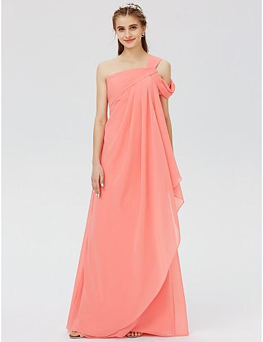 preiswerte Romatisches Rosa-A-Linie / Ballkleid Ein-Schulter Boden-Länge Chiffon Brautjungfernkleid mit Überkreuzte Rüschen / Plissee durch LAN TING BRIDE®