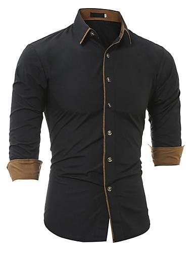 voordelige Herenoverhemden-Heren Zakelijk Standaard Overhemd Katoen, Werk Effen Spread boord Slank Wit / Lange mouw / Herfst