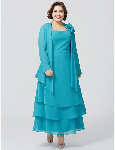voordelige Wrap Dresses-A-lijn Scoop Neck Tot de enkel Chiffon Bruidsmoederjurken met Kralen / Bloem / Gelaagd door LAN TING BRIDE® / Wrap inbegrepen