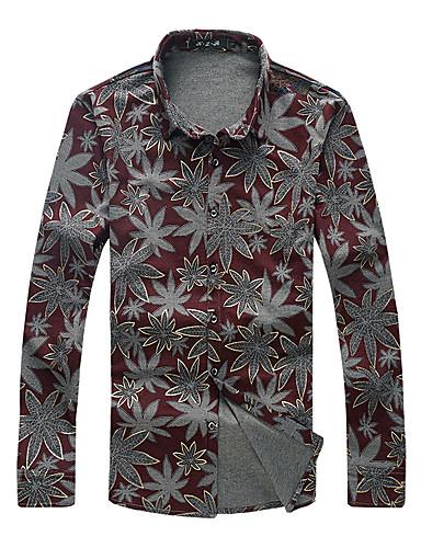 levne Pánské košile-Pánské - Květinový Cikánský Košile Bavlna Límeček s knoflíkem Rubínově červená / Dlouhý rukáv
