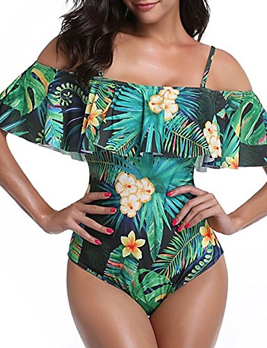 billige Bikinier og damemote-Dame Bohem Med stropper / Løse skuldre Grønn Hvit Bandeau Underbukser En del Badetøy - Blomstret Tropisk blad Drapering / Trykt mønster L XL XXL / Sexy