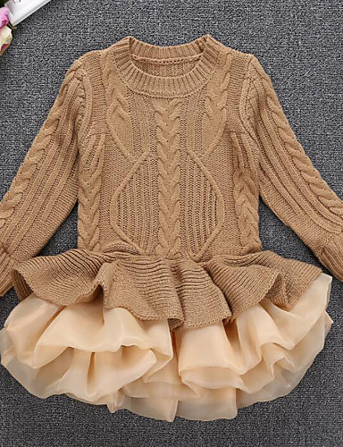preiswerte Ausverkauf-Mädchen Street Schick Ausgehen Patchwork Langarm Kleid Rote / Baumwolle / Prinzessin