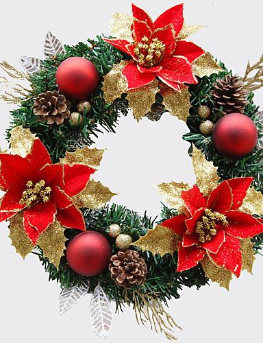 povoljno Božićna drvca i vijenci-Božićni vijenac 1 Boje borove iglice božićni ukras za promjer dom stranka 30cm Navidad nova godina pomagala