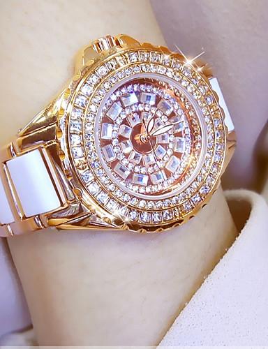 preiswerte Modische schicke Uhren für Damen-Damen Uhr Armbanduhr Diamond Watch Goldene Uhr Japanisch Quartz Edelstahl Keramik Weiß / Silber / Gold 30 m Armbanduhren für den Alltag Analog damas Charme Gold Silber Rotgold