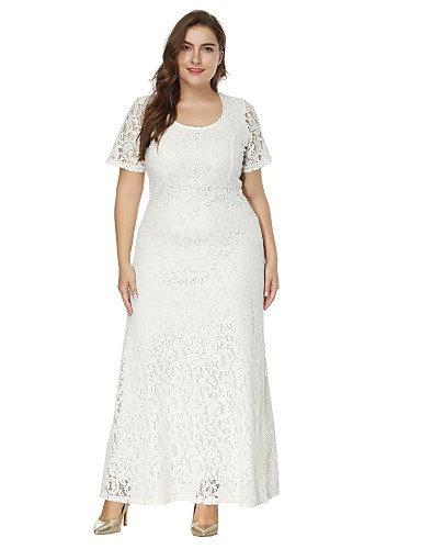 Women\'s Plus Size Party Maxi A Line Lace Dress - Solid Colored White ...