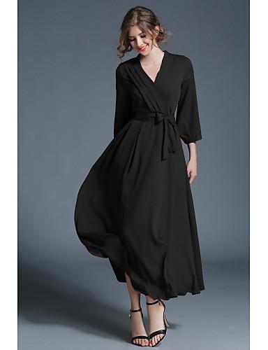 preiswerte Ausverkauf-Damen Ausgehen Boho Swing Kleid Solide Maxi V-Ausschnitt
