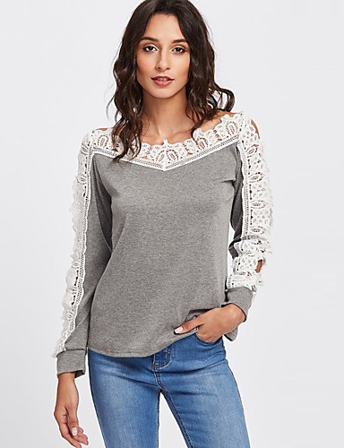 billige T-skjorter til damer-Bomull Båthals T-skjorte Dame - Fargeblokk Gatemote Grå / Blonder