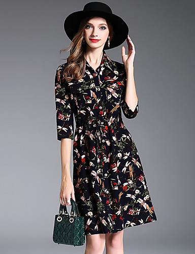 9dd8b06bc3383 Mujer Línea A Vestido Casual Diario Vintage
