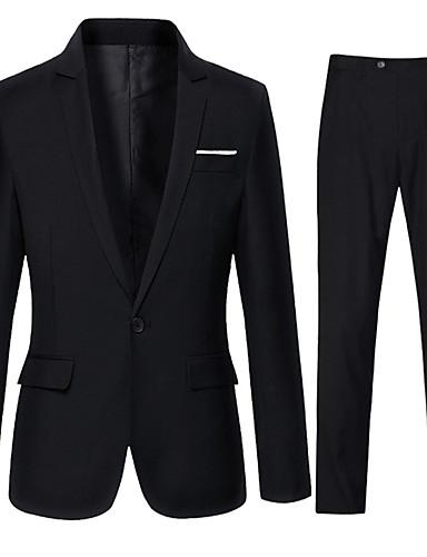 preiswerte Ausverkauf-Herrn Alltag Herbst Standard Anzüge, Solide Hemdkragen Langarm Baumwolle / Polyester Schwarz