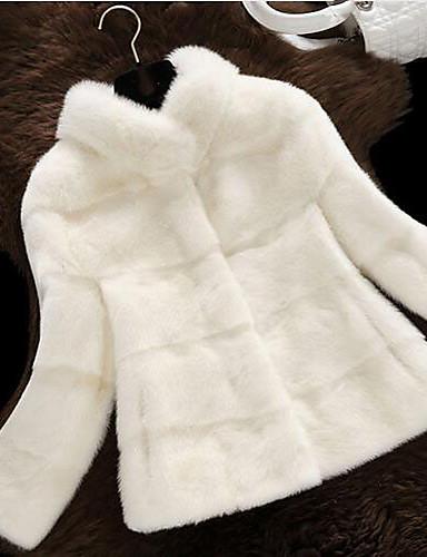 De Corto Invierno Escote Mujer Piel Chino Un Vintage Abrigo Diario wZqxx1nXt7