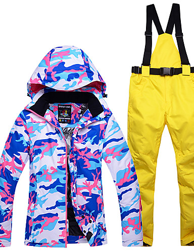 cheap Ski & Snowboard-ARCTIC QUEEN Women's Ski Jacket with Pants Ski / Snowboard Winter Sports Thermal / Warm Waterproof Windproof Polyester Clothing Suit Ski Wear / Long Sleeve / Camo / Camouflage