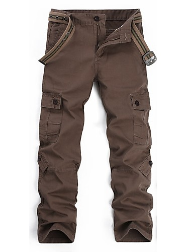 cheap Hiking Trousers & Shorts-Men's Hiking Cargo Pants Solid Color Winter Outdoor Wear Resistance Cotton Pants / Trousers Coffee Hiking Outdoor Exercise Multisport XXS XS S M L