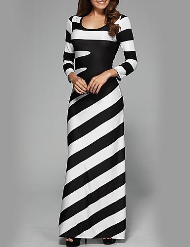 preiswerte Kleider-Damen Party Festtage Street Schick Schlank Hülle Kleid Gestreift Maxi Hohe Taillenlinie Schwarz & Weiß