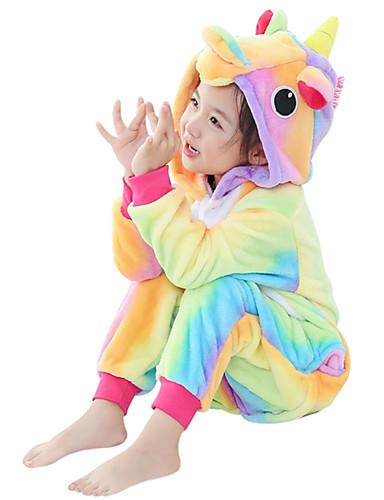 preiswerte Spielzeug & Hobby Artikel-Kinder Kigurumi-Pyjamas Unicorn Fliegendes Pferd Pony Pyjamas-Einteiler Flanell Gelb Cosplay Für Jungen und Mädchen Tiernachtwäsche Karikatur Fest / Feiertage Kostüme