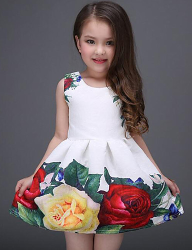 preiswerte Zeichentrick für Kinder-Kinder Mädchen Süß Alltag Festtage Blumen Druck Ärmellos Kleid Weiß