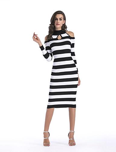 b7a6537f78c4 Γυναικεία Αργίες Κομψό στυλ street Λεπτό Εφαρμοστό Φόρεμα - Ριγέ Μίντι Ψηλή  Μέση Ζιβάγκο 6432753 2019 –  27.99