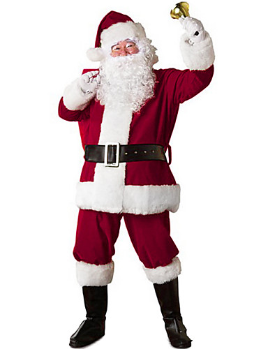 cheap Christmas Costumes-Santa Suit Santa Claus Cosplay Costume Christmas Party Supplies Men's Christmas Christmas Halloween Festival / Holiday Polyester Red Men's Carnival Costumes Patchwork / Gloves / Hat