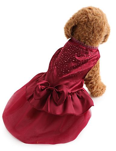 preiswerte Haustierzubehör-Hund Kleider Hundekleidung Rot Blau Kostüm Bichon Frise Schnauzer Pekinese Terylen Solide Pailletten Urlaub Hochzeit Modisch XS S M L XL