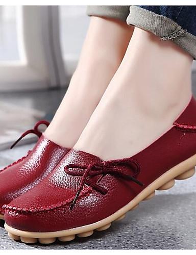 billige Shoes & Bags Must-have-Dame En pedal Flat hæl Rund Tå Nappa Lær Komfort / Ballerina Vår / Høst Blå / Rosa / Vin / EU39