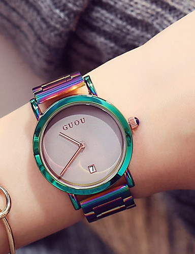 cheap Kids' Watches-Women's Ladies Wrist Watch Japanese Quartz Stainless Steel Green / Purple Water Resistant / Waterproof Calendar / date / day Chronograph Analog Casual Fashion Elegant Colorful Unique Creative - White