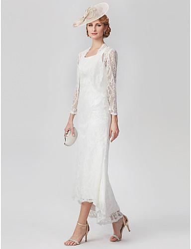 voordelige Wrap Dresses-A-lijn Scoop Neck Asymmetrisch All Over Lace Bruidsmoederjurken met Kant / Plooien door LAN TING BRIDE®