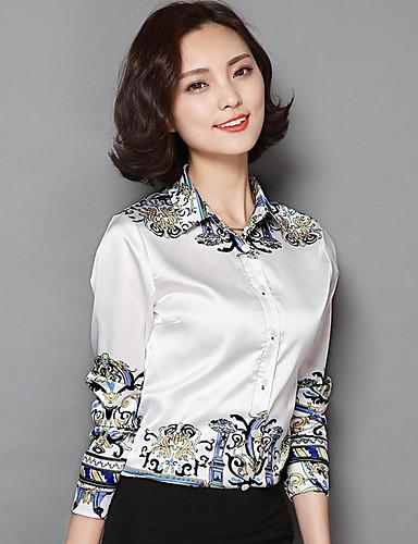 billige Skjorter til damer-Skjortekrage Skjorte Dame - Tribal, Trykt mønster Sofistikert Hvit