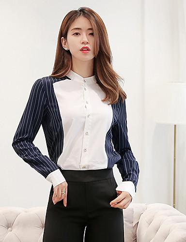 963063a28a Women s Work Street chic Cotton Shirt - Striped Shirt Collar Blue M    Spring   Summer   Fine Stripe 6418020 2019 –  21.59