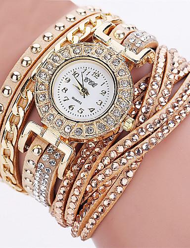 Γυναικεία Ρολόι Καρπού Diamond Watch χρυσό ρολόι Χαλαζίας Δέρμα Μαύρο / Λευκή / Μπλε Χρονογράφος Καθημερινό Ρολόι Αναλογικό κυρίες Καθημερινό Μοντέρνα Κομψό Halloween - Μπλε Ροζ Χρυσό / Ενας χρόνος