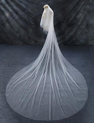 Δύο-βαθμίδων Μακριά ουρά / Χωρίς τελείωμα / Απομίμηση Μαργαριταριού Πέπλα Γάμου Πολύ Μακριά Πέπλα με Ψεύτικο Μαργαριτάρι Τούλι / Στυλ Αγγέλου / Καταρράκτης