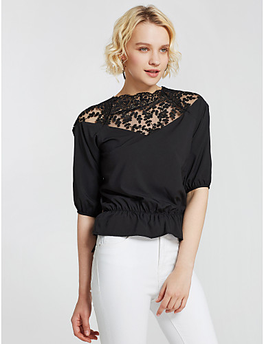 cheap Women's Tops-Women's Solid Colored Blouse - Cotton Daily White / Black