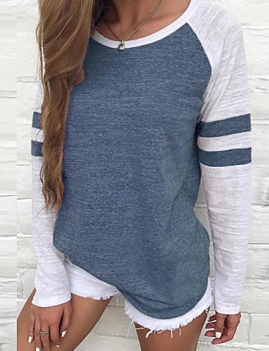billige Dametopper-Bomull T-skjorte Dame - Ensfarget Ferie Lilla