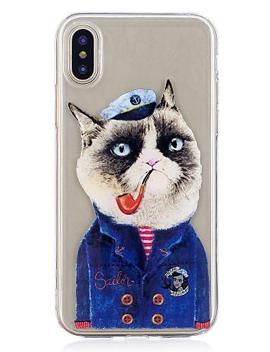 Capinha Para Apple iPhone X / iPhone 8 Plus / iPhone 8 Estampada Capa traseira Gato Macia TPU