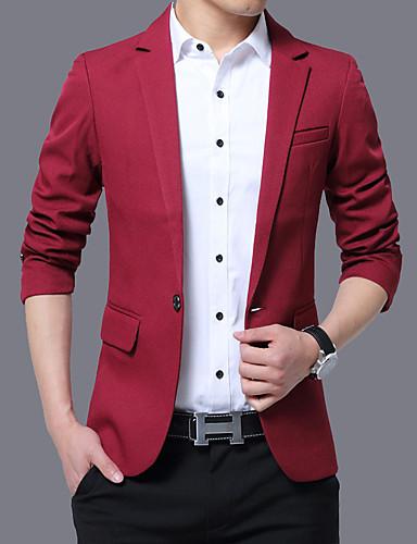 38ccdcbc4 Men's Daily / Work Fall / Winter Plus Size Regular Blazer, Solid Colored  Shirt Collar Long Sleeve Polyester Wine / Light Blue / Khaki XXXL / 4XL /  XXXXXL ...