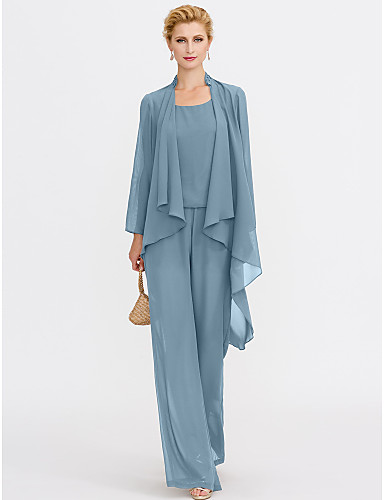 cheap Clearance-Jumpsuits Sheath / Column Mother of the Bride Dress Elegant Two Piece Jumpsuits V Neck Floor Length Chiffon Sleeveless with Pleats 2020