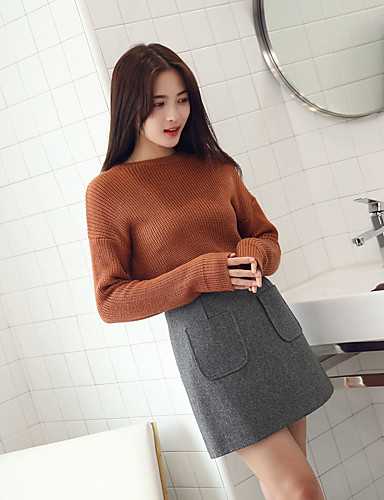 6bb612ca114 [$12.86] Γυναικεία Γραμμή Α, Απλός Καθημερινά, Mini Φούστες Πολυεστέρας  Μονόχρωμο ...
