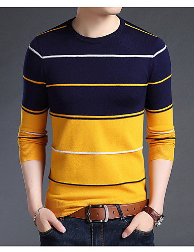 cheap Men's Sweaters & Cardigans-Men's Daily Basic Print Striped Long Sleeve Regular Pullover Sweater Jumper, Round Neck Fall / Winter White / Blue / Camel M / L / XL