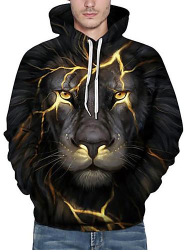 cheap Men's Hoodies & Sweatshirts-Men's Plus Size Hoodie Sweatshirt 3D Animal Print Hooded Active Hoodies Sweatshirts  Long Sleeve Loose Black / Fall / Winter