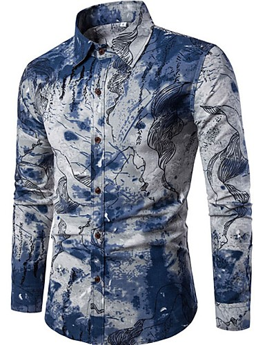 cheap White Shirts-Men's Going out Shirt Abstract Print Long Sleeve Slim Tops Linen Chinoiserie Spread Collar Blue