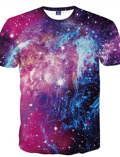 Ανδρικά T-shirt Κλαμπ Βασικό Γαλαξίας Στρογγυλή Λαιμόκοψη Στάμπα Βυσσινί / Κοντομάνικο / Καλοκαίρι