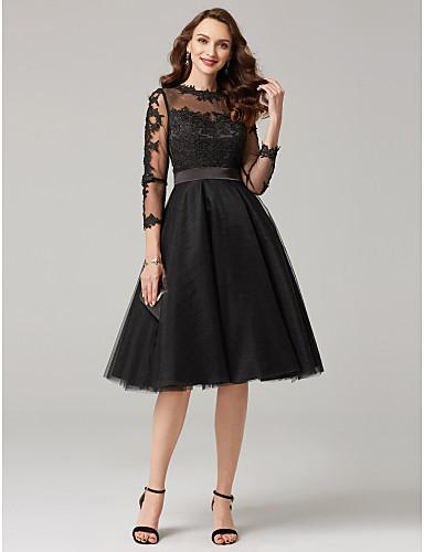 preiswerte Durchsichtige Kleider-A-Linie Illusionsausschnitt Tee-Länge Spitze mit Tüll-Overlay See Through Abiball Kleid mit Applikationen durch TS Couture® / Transparente