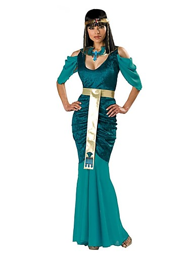 povoljno Maske i kostimi-Kleopatra Drevni Egipt Haljine Kostim za party Povorka maski Žene Pamuk Kostim Zelen Vintage Cosplay Kratkih rukava Do gležnja / Haljina / Haljina