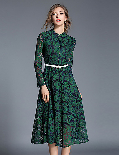 a75d625ce75ad Kadın's Günlük Dantel Elbise - Solid Dik Yaka Midi / Bahar / Sonbahar  6437542 2019 – $27.99